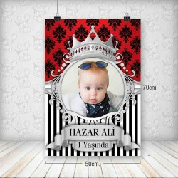 Kral Taç Kırmızı Gümüş Poster 50x70