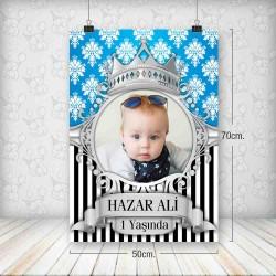 Kral Taç Mavi Gümüş Poster 50x70