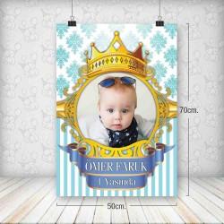 Kral Taç Mavi Gold Poster 50x70