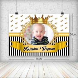 Kral Taç Siyah Gold Yatay Poster 50x70
