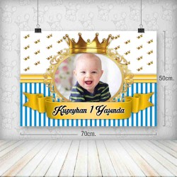 Kral Taç Mavi Gold Yatay Poster 50x70