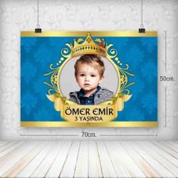 Kral Tac Mavi Gold Yatay Poster 50x70