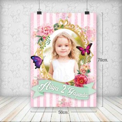 Çiçekli Kelebekli Poster 50x70