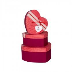 Dantelli Kalp Kutu Seti Kırmızı 3'lü