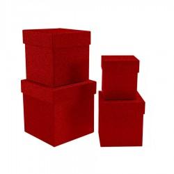 Simli Kare Kutu Seti Kırmızı 4'lü