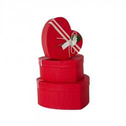 Şeritli Kalp Kutu Seti Kırmızı 3'lü