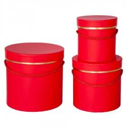 Silindir Kutu Seti Kırmızı 3'lü