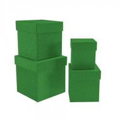 Simli Kare Kutu Seti Yeşil 4'lü