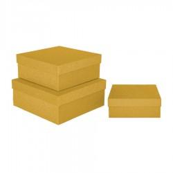 Altın Simli Kare Kutu 3'lü