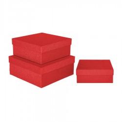 Kırmızı Simli Kare Kutu 3'lü