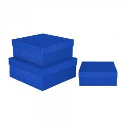 Mavi Simli Kare Kutu 3'lü