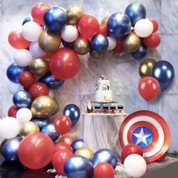 Balon Zinciri - Metalik Kırmızı - Beyaz Balon 50 Adet - Krom Gold - Mavi 50 Adet