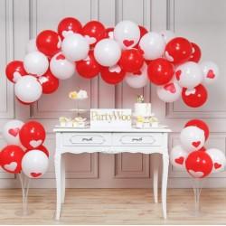 Balon Zinciri ve 2 Adet Balon Standı - Metalik Kalpli Kırmızı Beyaz