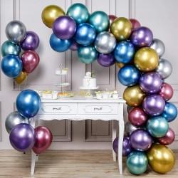 Balon Zinciri - Karışık Renk Krom Balon 50 Adet