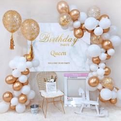 Balon Zinciri - Metalik Beyaz Balon 100 Adet - Krom Gold 20 Adet