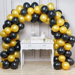 Balon Zinciri - Metalik Siyah ve Gold 200 Adet