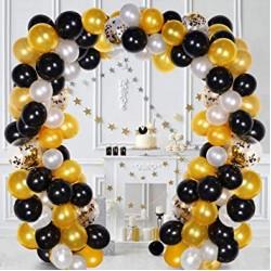 Balon Zinciri - Metalik Siyah Beyaz ve Gold 200 Adet