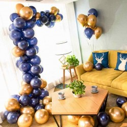 Balon Zinciri - Metalik Koyu Mavi Balon 100 Adet - Krom Gold 20 Adet