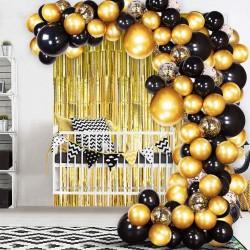 Balon Zinciri - Metalik Siyah Balon 100 Adet - Krom Gold 50 Adet