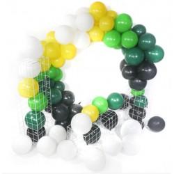 Balon Zinciri - Metalik Siyah Yeşil Sarı Beyaz Koyu Yeşil