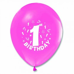 1 Yaş Happy Birthday Baskılı Metalik Pembe Balon 100'lü