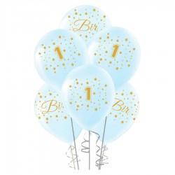 Altın Bir Yaş Baskılı Mavi Balon 100'lü