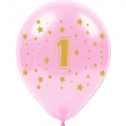 Altın Bir Yaş Baskılı Pembe Balon 100'lü