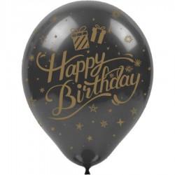 Altın Happy Birthday Baskılı Siyah Balon 100'lü