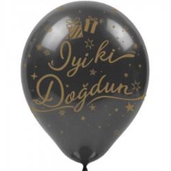 Altın İyi ki Doğdun Baskılı Siyah Balon 100'lü