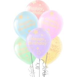 Çepeçevre Yıldızlı Happy Birthday Baskılı Karışık Renk Makaron