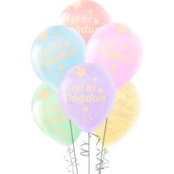 Çepeçevre Yıldızlı İyi ki Doğdun Baskılı Karışık Renk Makaron Balon