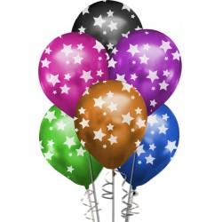 Çepeçevre Yıldızlar Baskılı Karışık Renk Krom Balon