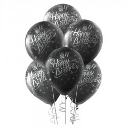 Gümüş Happy Birthday Baskılı Siyah Balon 100'lü