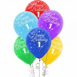 Happy Birthday Bir Yaş Baskılı Rengarenk Balon 100'lü