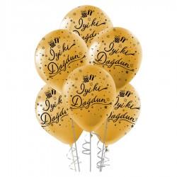 Siyah İyi ki Doğdun Baskılı Metalik Altın Balon 100'lü