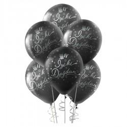 Gümüş İyi ki Doğdun Baskılı Siyah Balon 100'lü