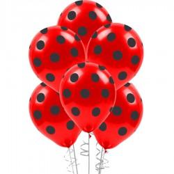 Çepeçevre Siyah Puantiyeli Kırmızı Balon 100'lü