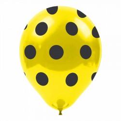 Siyah Puantiyeli Sarı Balon 100'lü