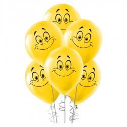 Gülen Yüz Baskılı Sarı Balon 100'lü