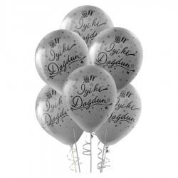 Siyah İyi ki Doğdun Baskılı Metalik Gümüş Balon 100'lü