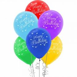 Happy Birthday Baskılı Rengarenk Balon 100'lü