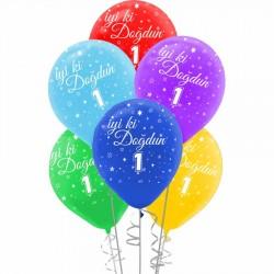 İyi ki Doğdun Bir Yaş Baskılı Rengarenk Balon 100'lü