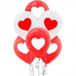 Kırmızı Beyaz Kalp Baskılı Balon 100'lü