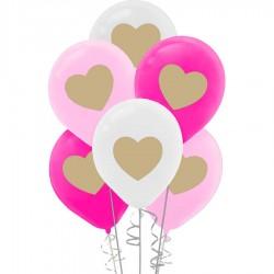 Metalik Kalp Baskılı Balon 100'lü