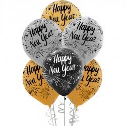 Mutlu Yıllar Çift Taraf Baskılı Metalik Balon 100'lü