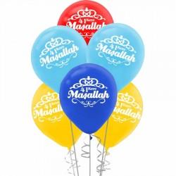 Maşallah Baskılı Rengarenk Balon 100'lü
