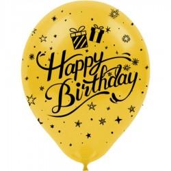 Siyah Happy Birthday Baskılı Metalik Altın Balon 100'lü
