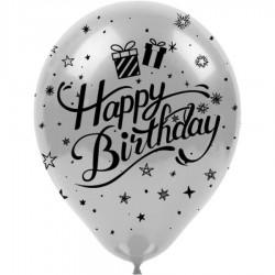 Siyah Happy Birthday Baskılı Metalik Gümüş Balon 100'lü