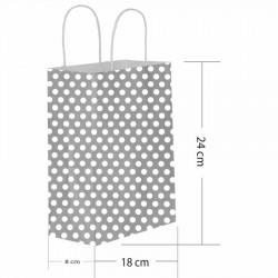 Gümüş Puantiyeli Kraft Hediye Çantası 18x8x24 cm 25'li