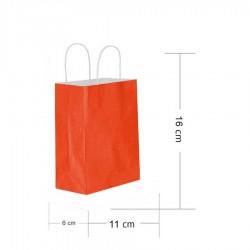 Kırmızı Kraft Hediye Çantası 11x6x16 cm 25'li
